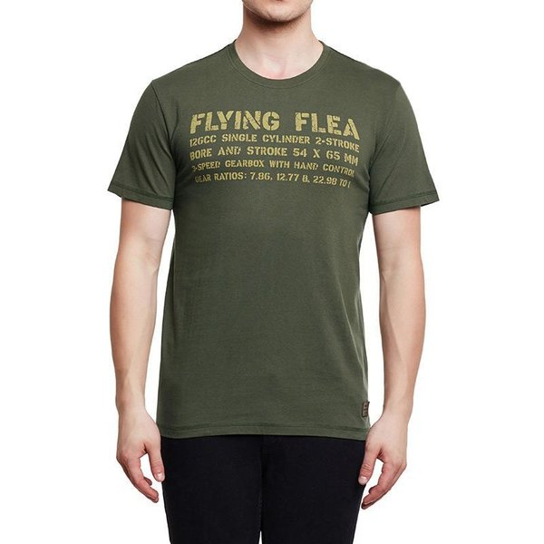 T-SHIRT FLYING FLEA LEGEND NAVY VERT OLIVE ROYAL ENFIELD