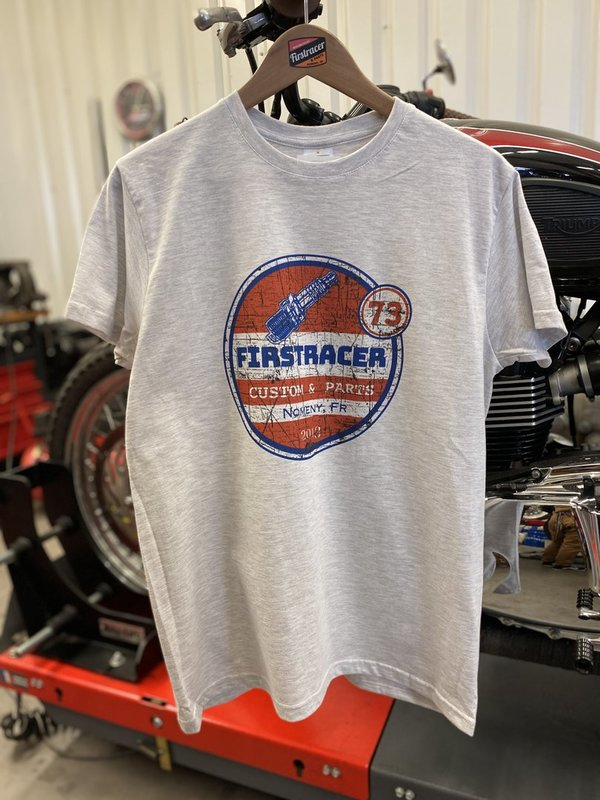 T-SHIRT FIRSTRACER PARTS VINTAGE GRIS CHINÉ